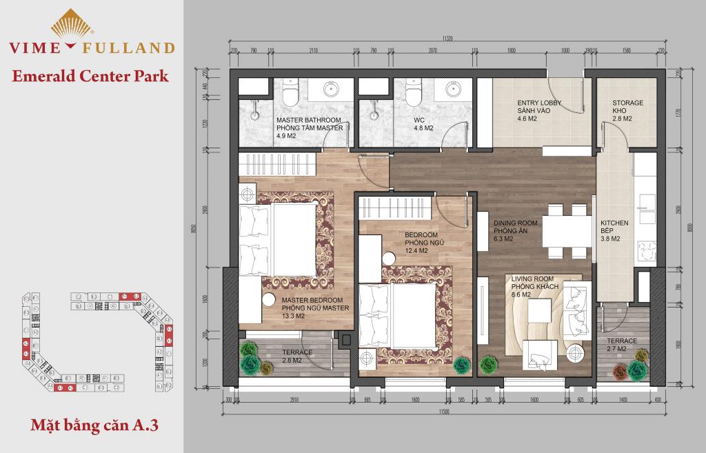 Thiết kế căn hộ A3 chung cư CT8 Mĩ Đình