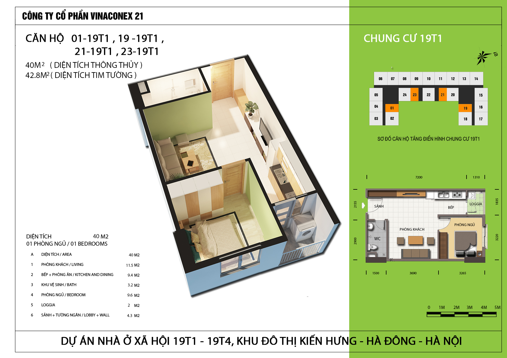 Thiết kế căn hộ 40m2 tòa 19T1 Kiến Hưng
