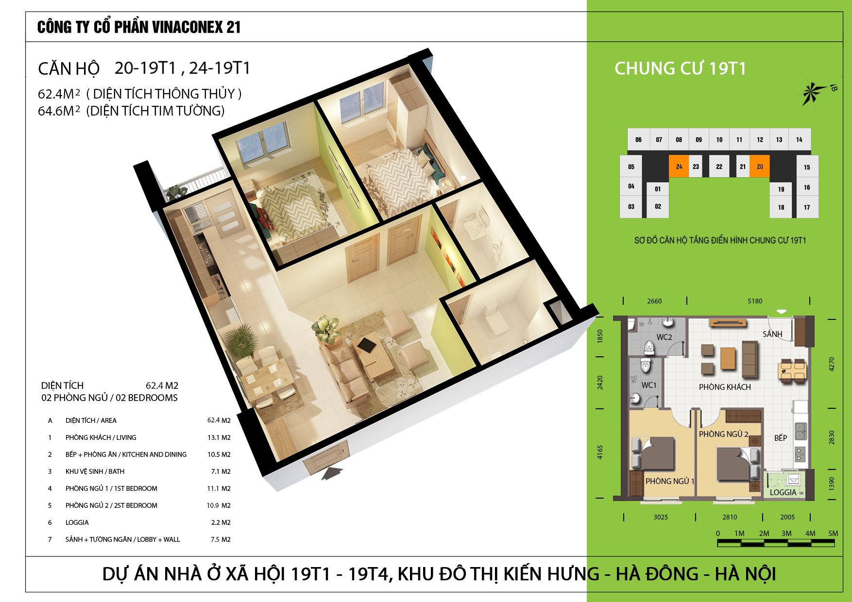 Thiết kế căn hộ 62.4m2 tòa 19T1 Kiến Hưng