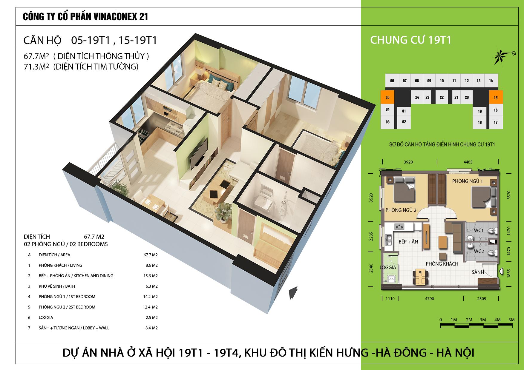 Thiets kế căn hộ 67.7m2 tòa 19T1 Kiến Hưng