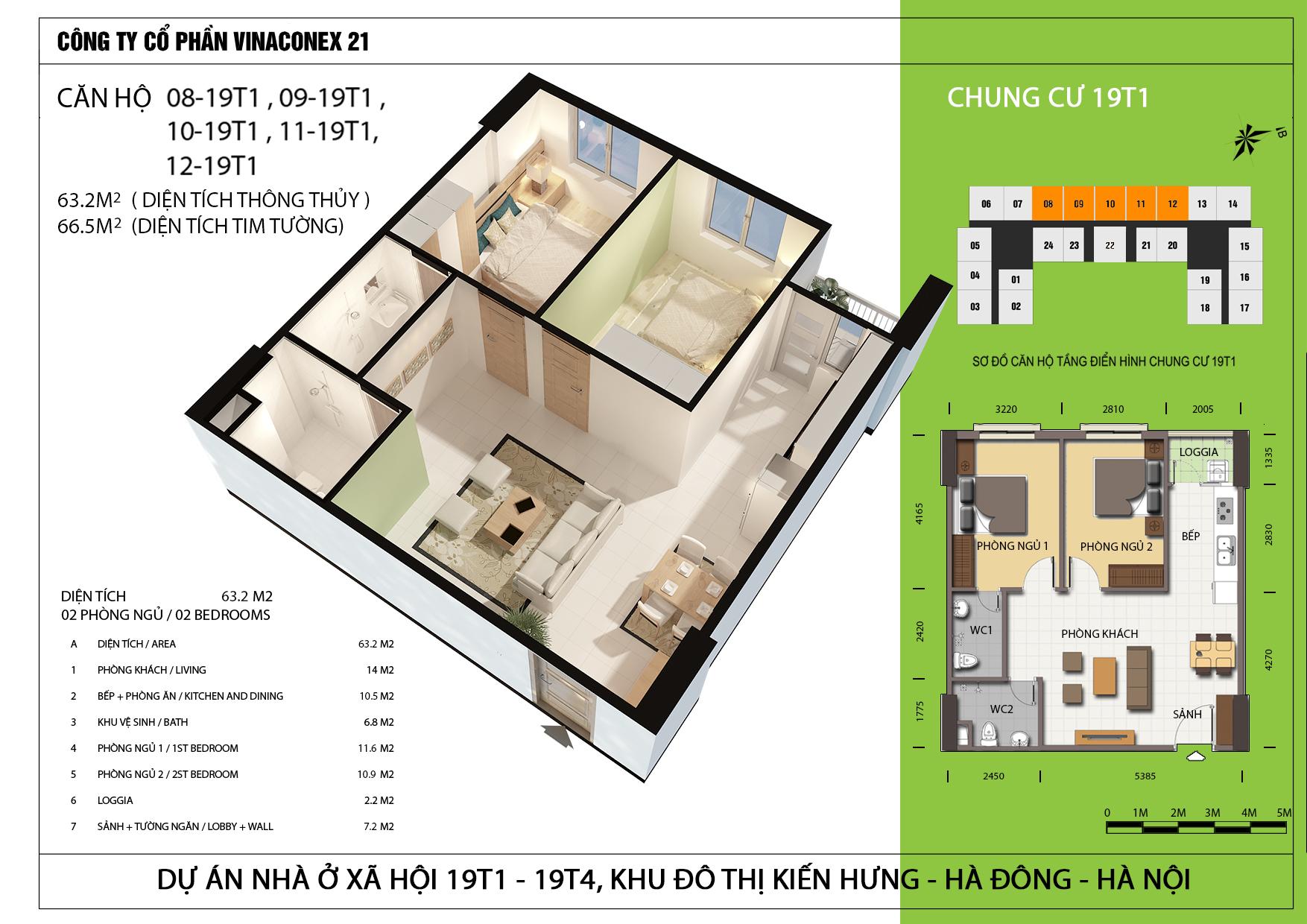 Thiết kế căn hộ 63.2m2 tòa 19T1 Kiến Hưng