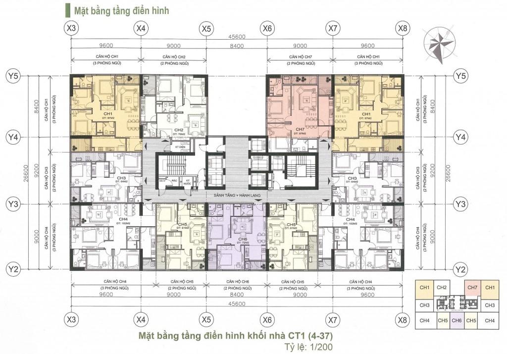 Mặt bằng căn hộ chung cư A10 Nam trung Yên
