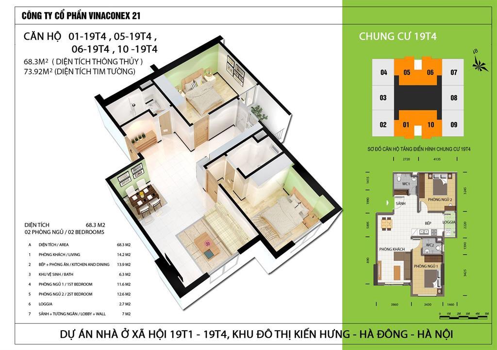 Thiết kế căn hộ 68m2 tòa 19T4 nhà ở xã hội Kiến Hưng