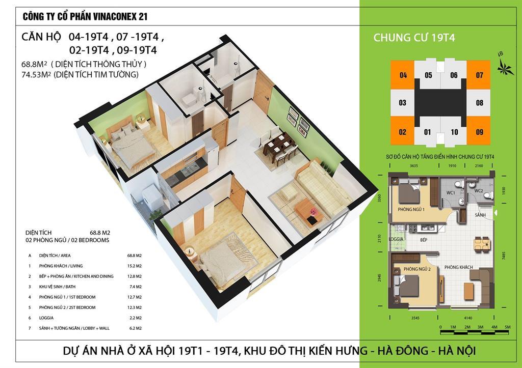 Thiết kế căn hộ 69m2 tòa 19T4 nhà ở xã hội Kiến Hưng