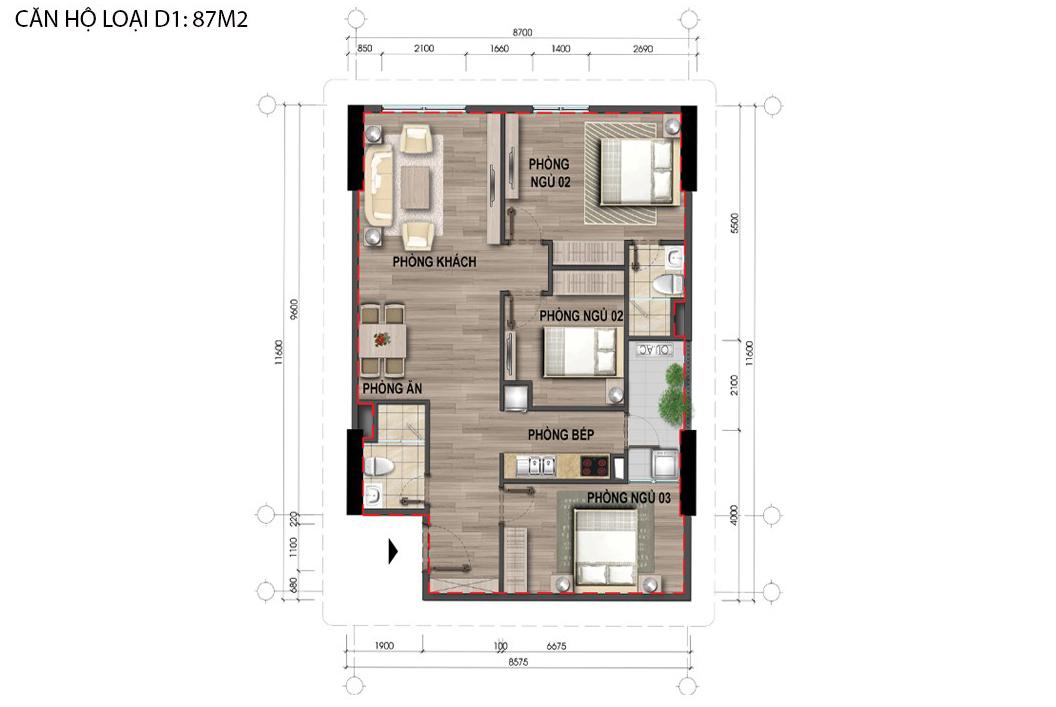 Thiết kế căn hộ D1 nhà ở Bộ Công An Cổ nhuế