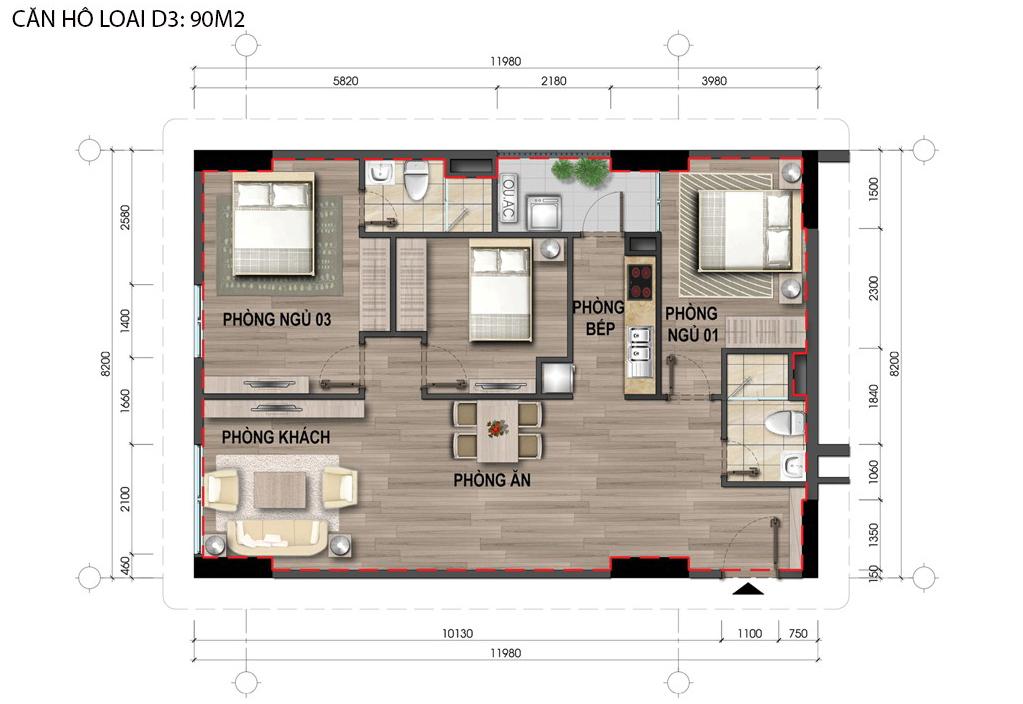 Thiết kế căn hộ D3 nhà ở Bộ Công An Cổ Nhuế