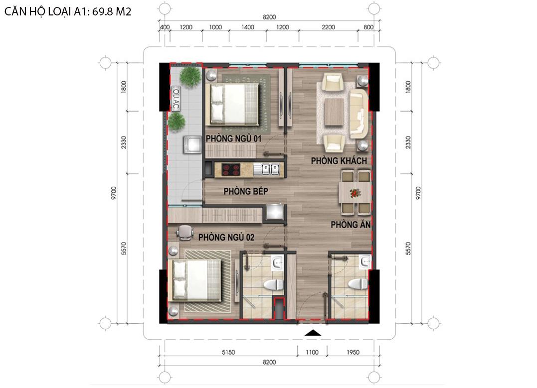 Thiết kế chi tiết căn hộ A1 Bộ Công An Cổ Nhuế