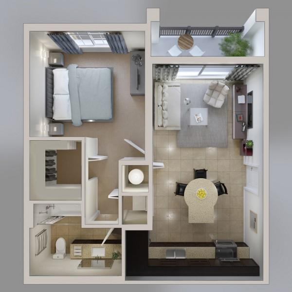 Mẫu thiết kế đẹp cho căn hộ 1 phòng ngủ