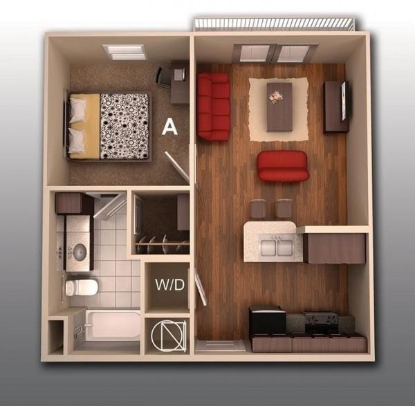 Thiết kế đẹp căn hộ chung cư 1 phòng ngủ