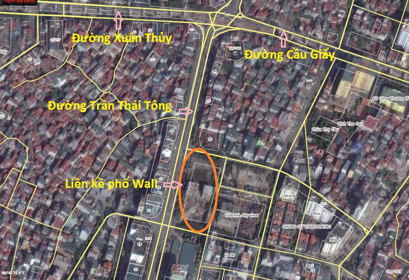 Vị trí khu nhà liền kề phố Wall