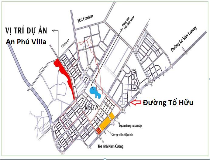 Vị trí khu An Phú Shop Villa Dương Nội