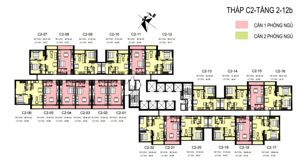 Mặt bằng bố trí căn hộ ofiicetel C2 Trần Duy Hưng