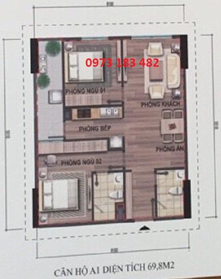 Thiết kế căn hộ A1 chung cư xã hội Bộ Công An Cổ Nhuế 2
