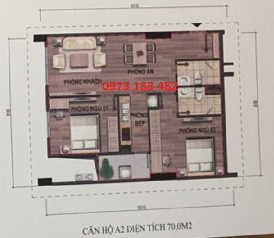 thiết kế căn hộ A2 nhà ở xã hội Bộ Công An Cổ Nhuế 2