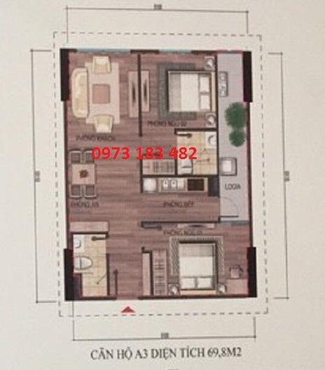 Thiết kế căn hộ A3 nhà ở xã hội Bộ Công An Cổ Nhuế 2