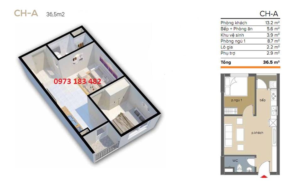 Thiết kế căn hộ 36m2 Ecohome 3