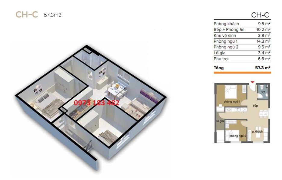 Thiết kế căn hộ 57m2 Ecohome 3 Cổ Nhuế