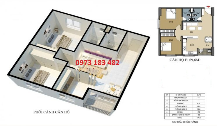 Thiết kế căn hộ 69m2 Ecohome 3