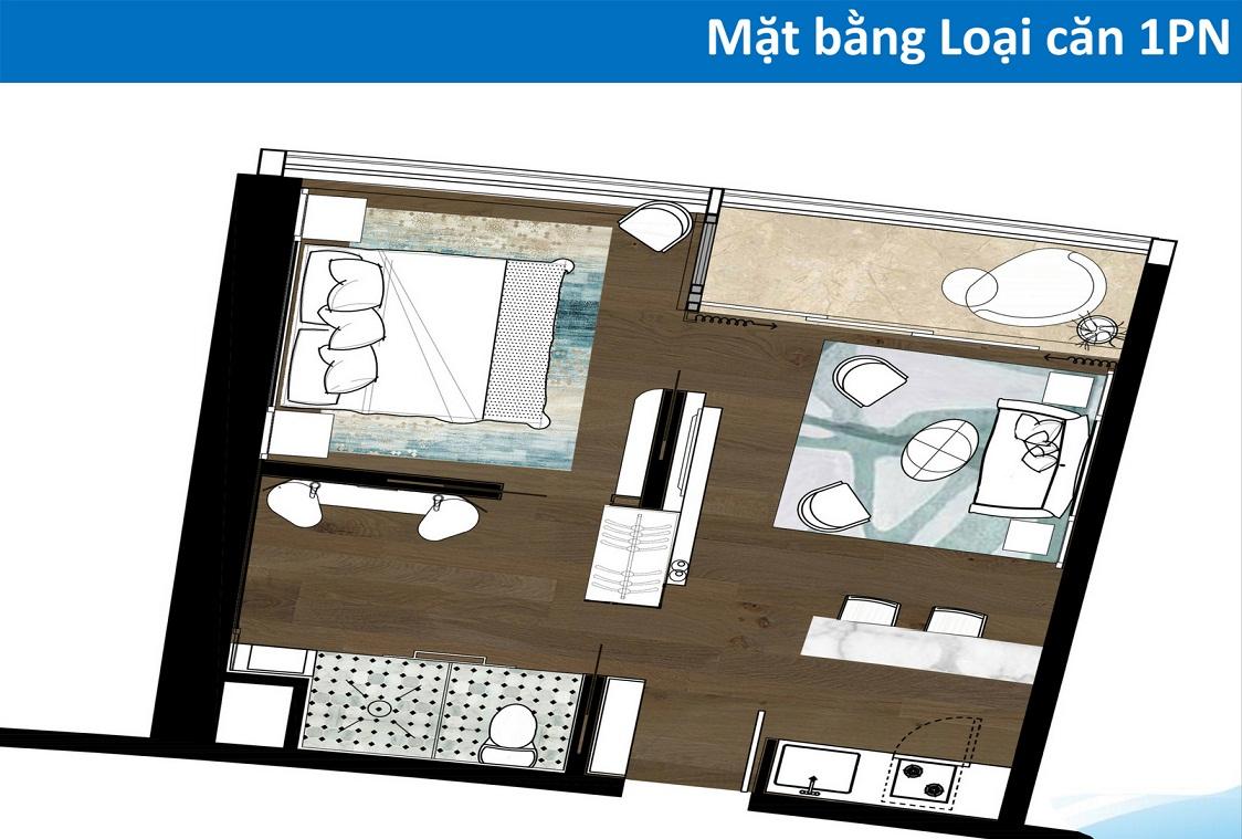 Thiết kế căn hộ Condotel 1 phòng ngủ Tower cocobay