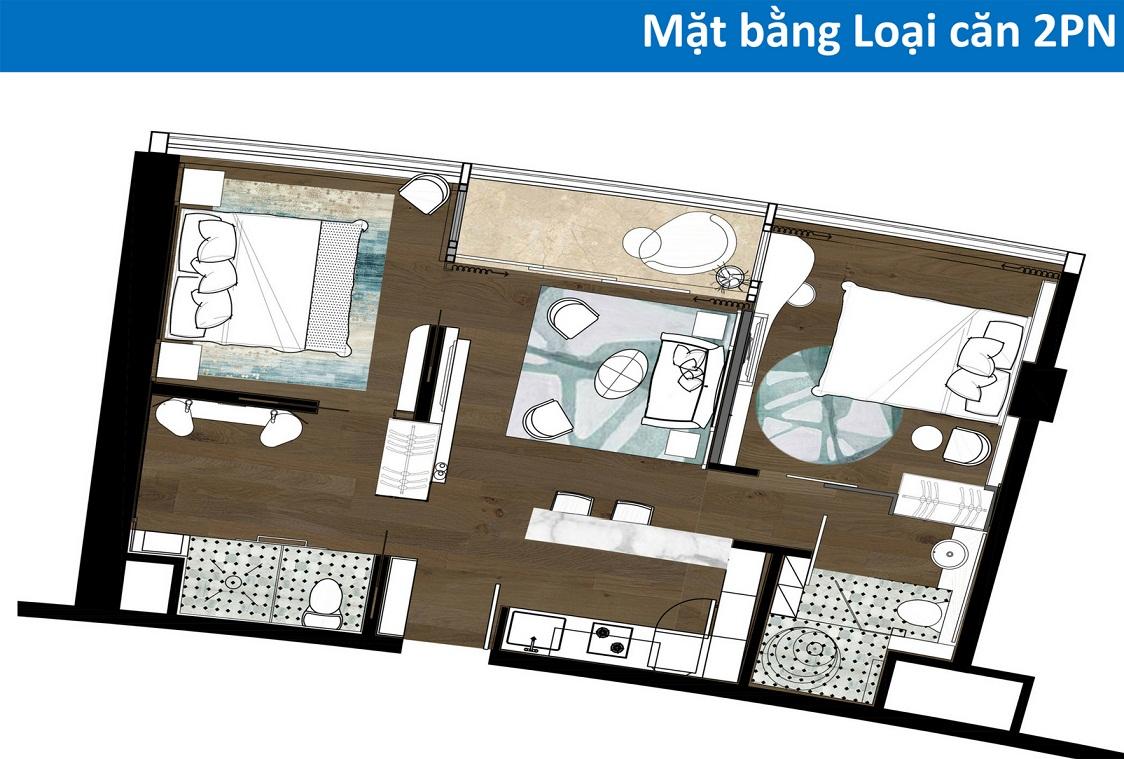 Thiết kế căn hộ Condotel 2 phòng ngủ Tower cocobay