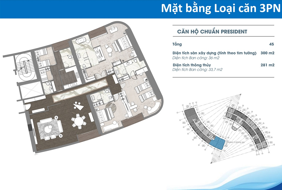 Thiết kế căn hộ Condotel 3 phòng ngủ Tower cocobay