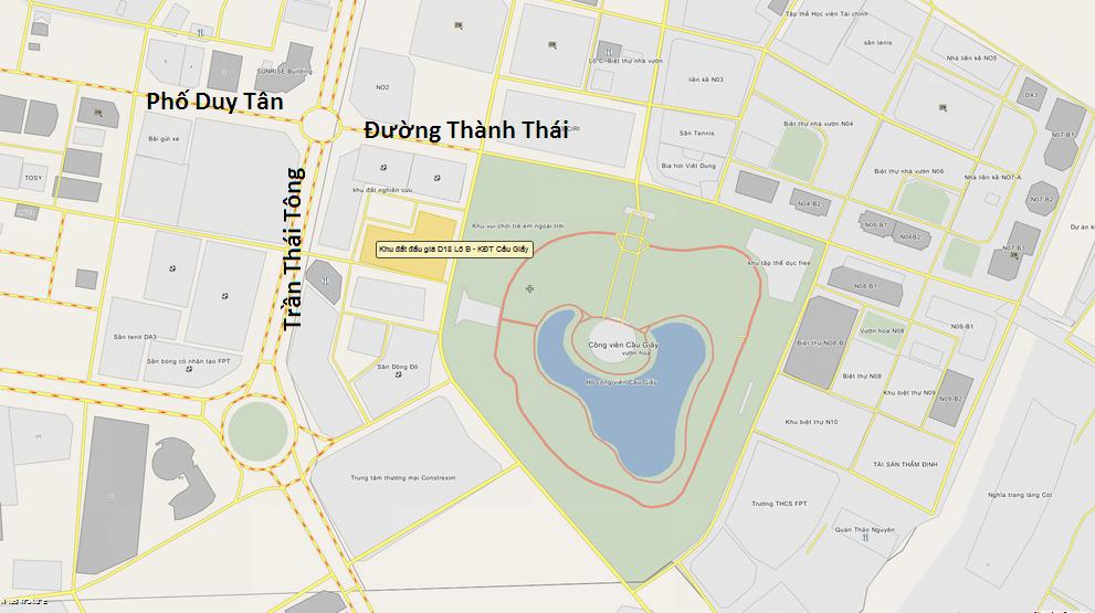 Vị trí lô đất đấu giá D18 KDT Dịch Vọng