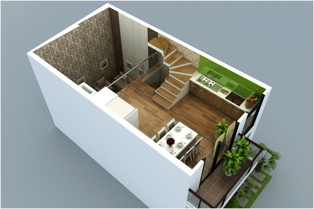 Thiết kế tầng 2 mẫu M11 liền kề Rice Sông Hồng