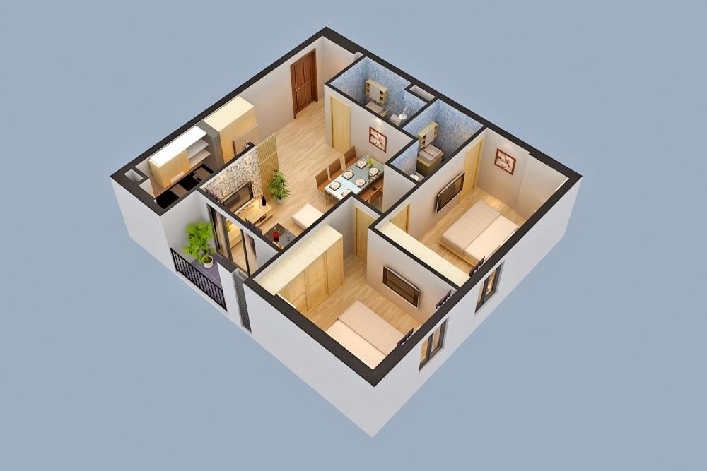 Thiết kế căn hộ 01 nhà ở xã hội Rice City Sông Hồng