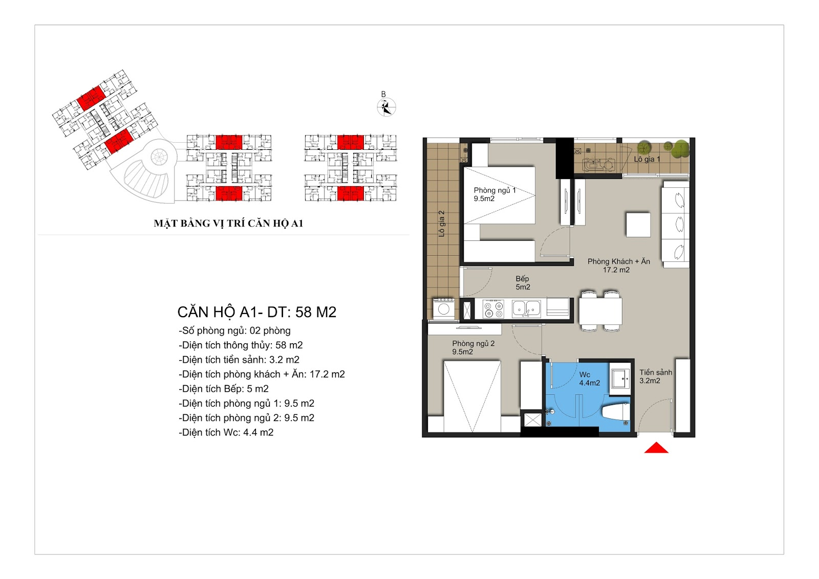Thiết kế căn hộ A1 58m2 chung cư Hateco