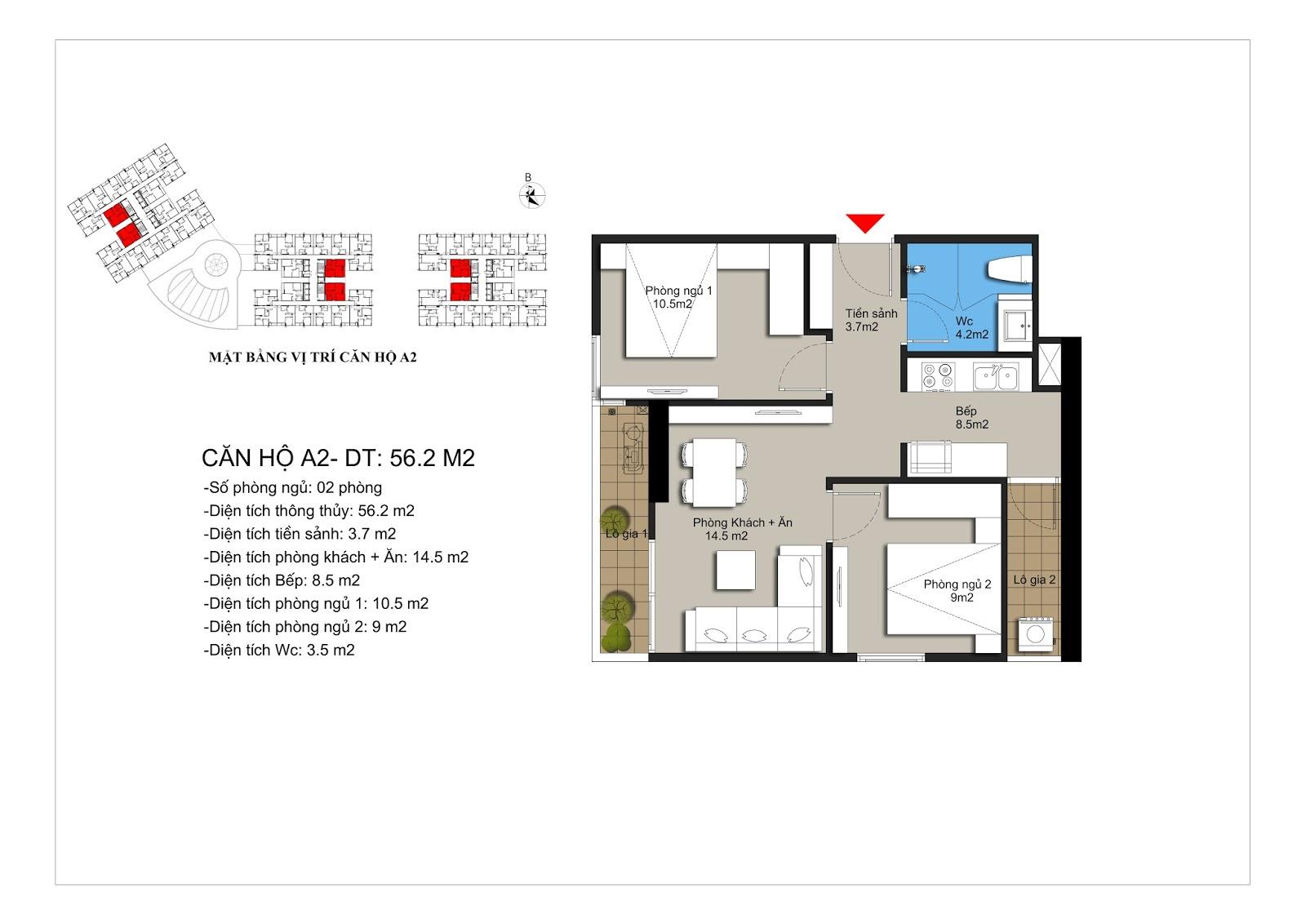Thiết kế căn hộ A2 56m2 chung cư Hateco Xuân Phương