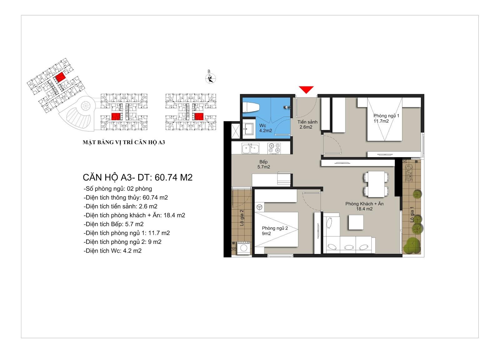 Thiết kế căn hộ A3 60m2 chung cư Hateco Xuân Phương