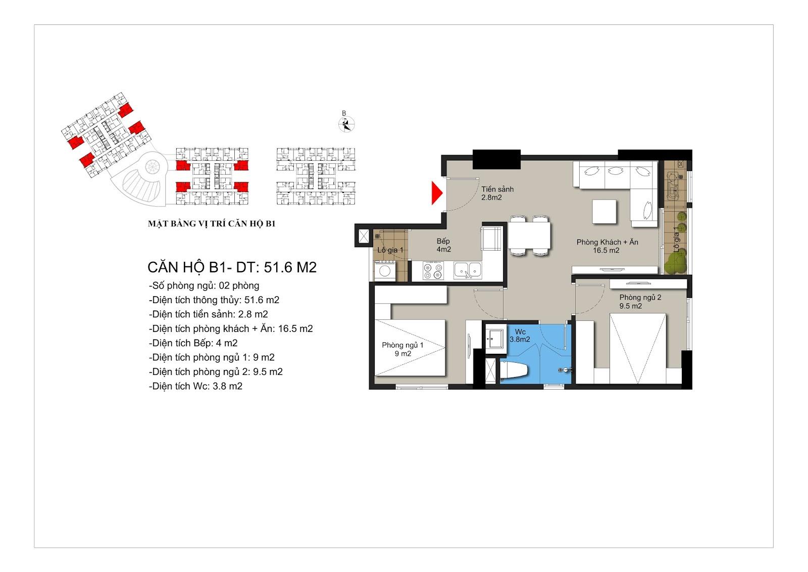 Thiết kế căn hộ B1 chung cư Hateco Xuân Phương 52m2