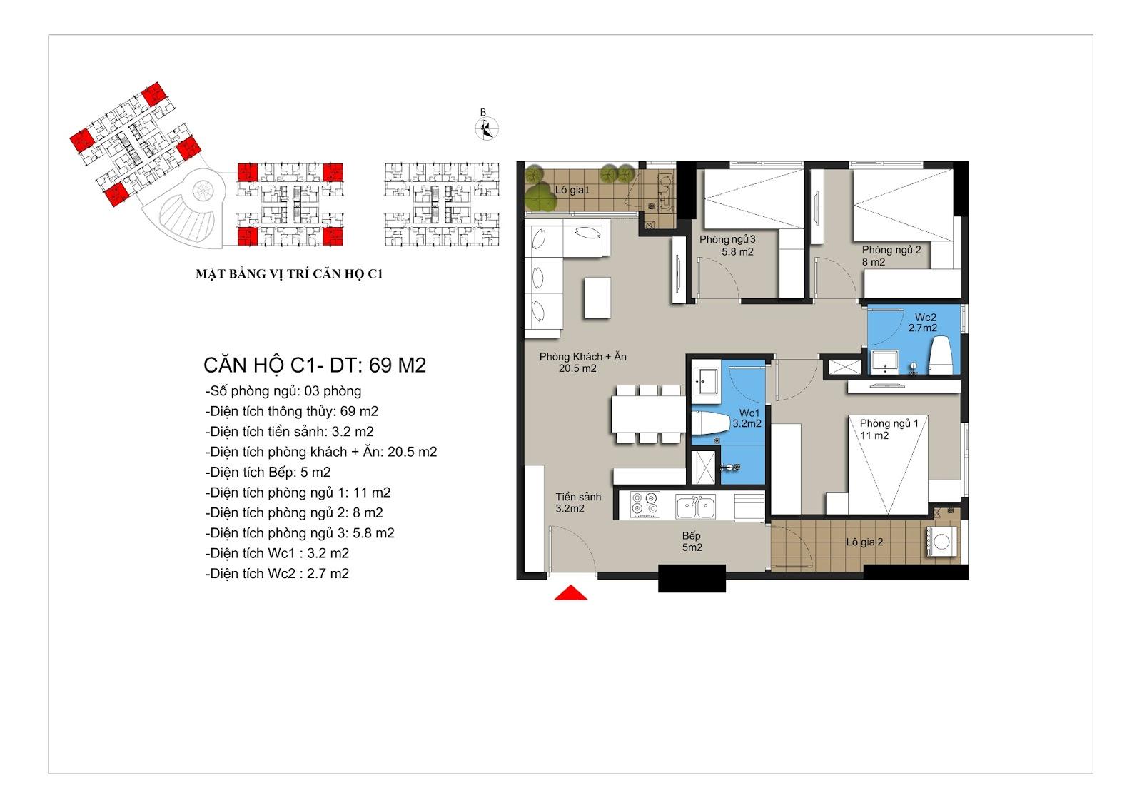 Thiết kế căn góc C1 chung cư Hateco Xuân Phương