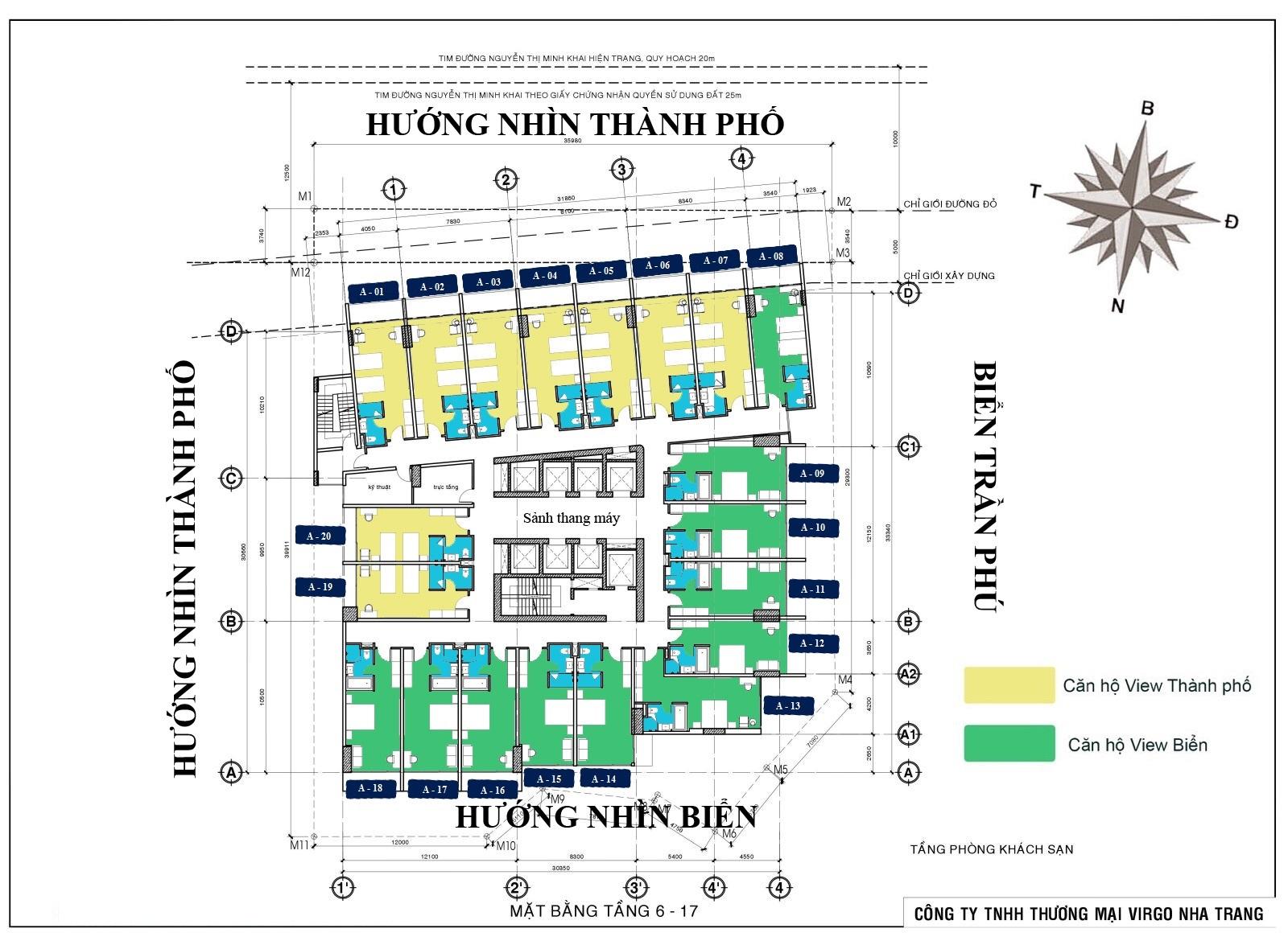 Mặt bằng tầng 6 - 17 Virgo Hotel Nha Trang