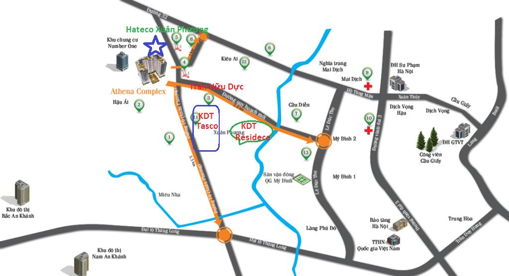 Vị trí dự án Hateco Xuân Phương