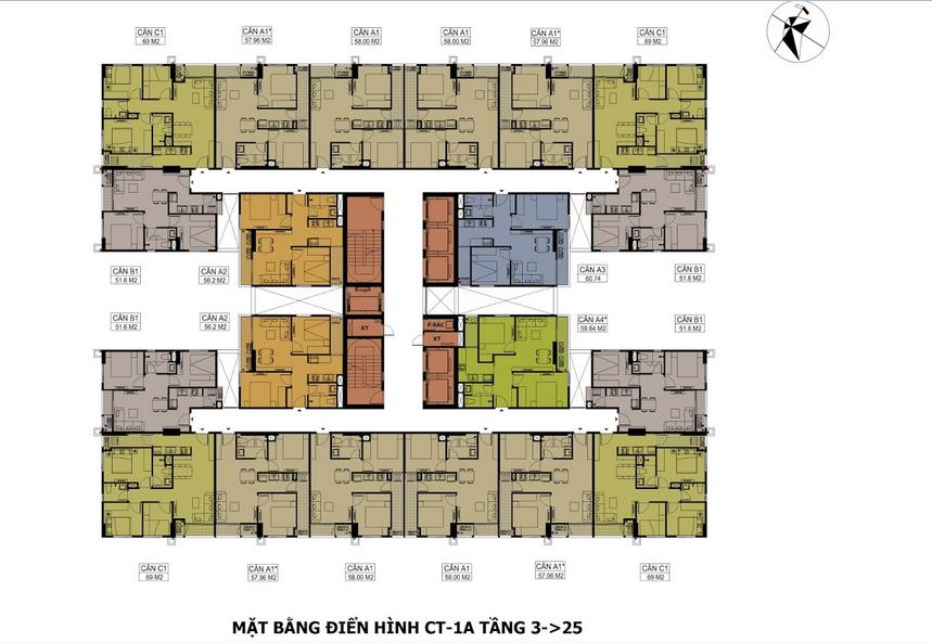 Thiết kế mặt bằng căn hộ tòa CT1B Hateco