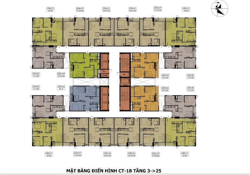 Thiết kế mặt bằng căn hộ tòa CT1A Hateco