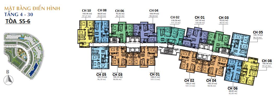 Mặt bằng tòa S5 - S6 chung cư Sunshine City