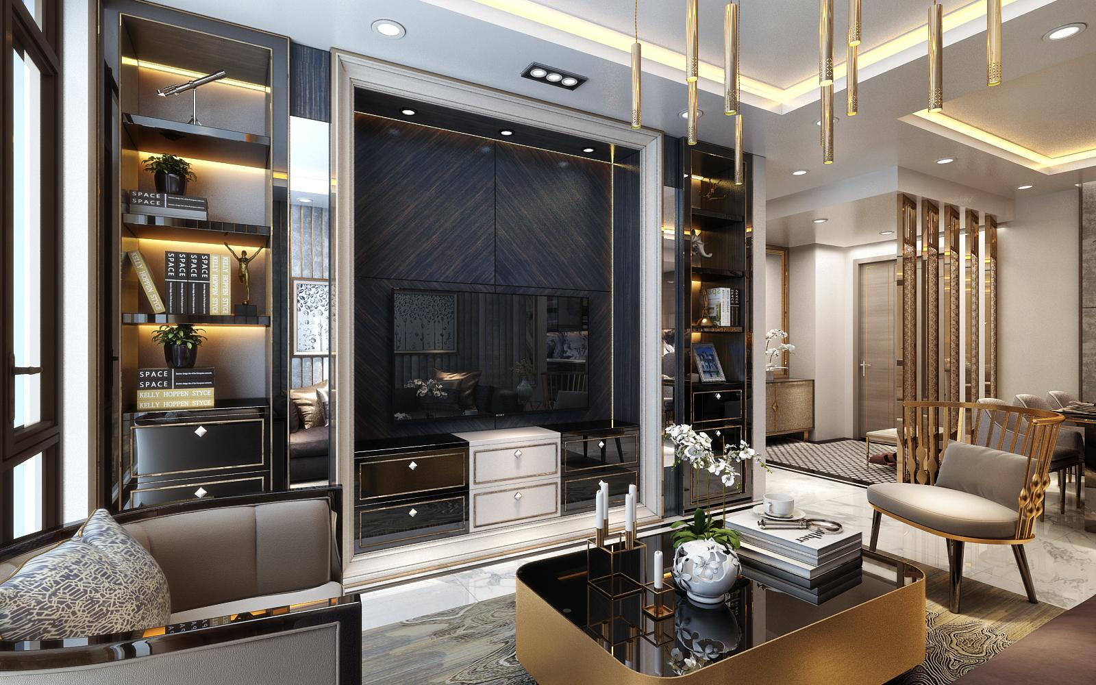 Phòng khách căn hộ chung cư Sunshine City