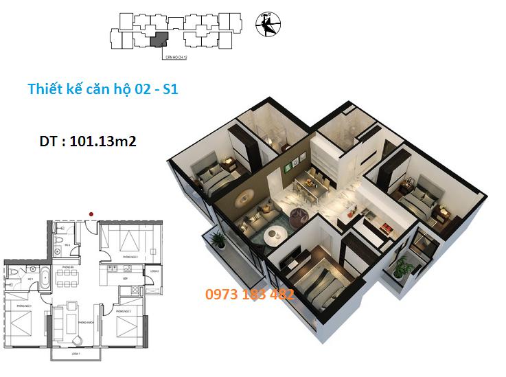 Thiết kế căn 02 tòa S1 chung cư Sunshine City