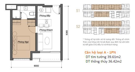 Thiết kế căn hộ Condotel 1 phòng ngủ