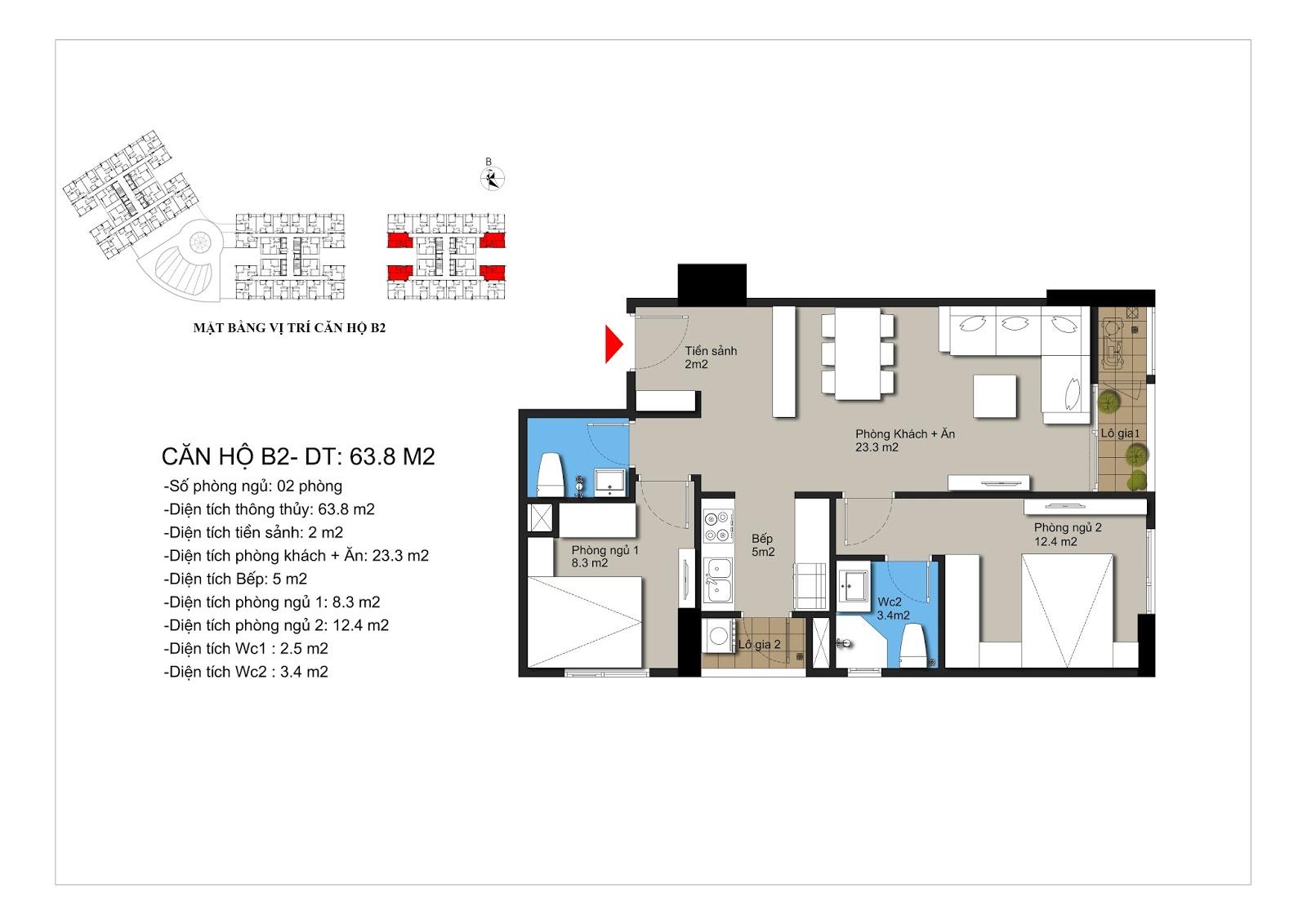 Thiết kế căn hộ B2 chung cư Hateco Xuân Phương