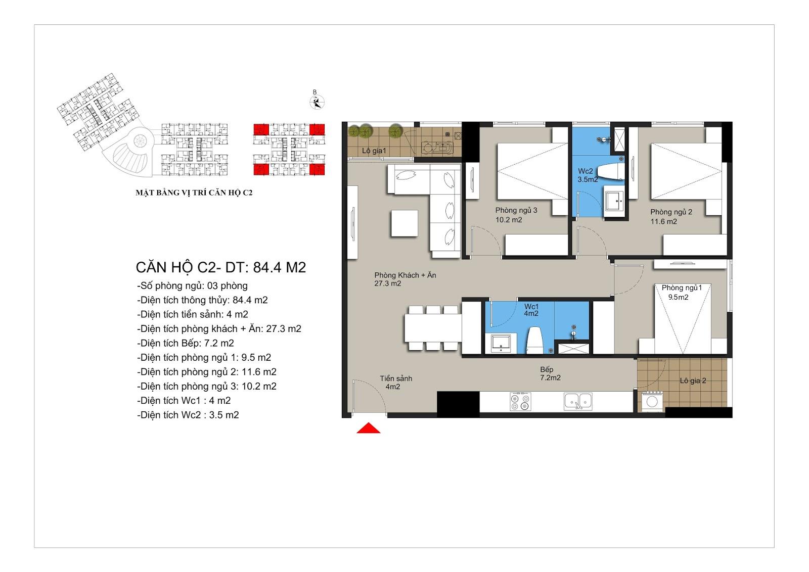 Thiết kế căn hộ C2 chung cư Hateco Xuân Phương