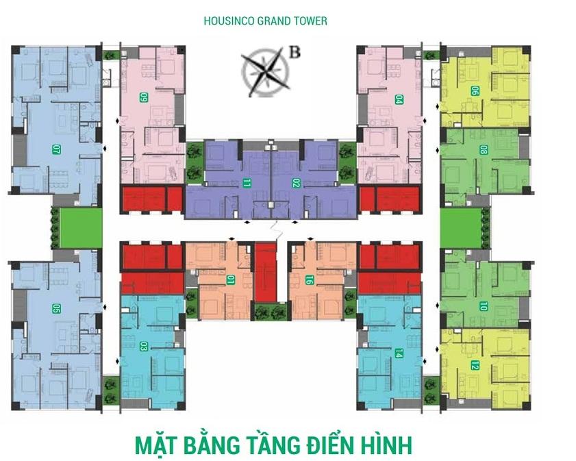 Mặt bằng điển hình chung cư Housinco Nguyễn Xiển