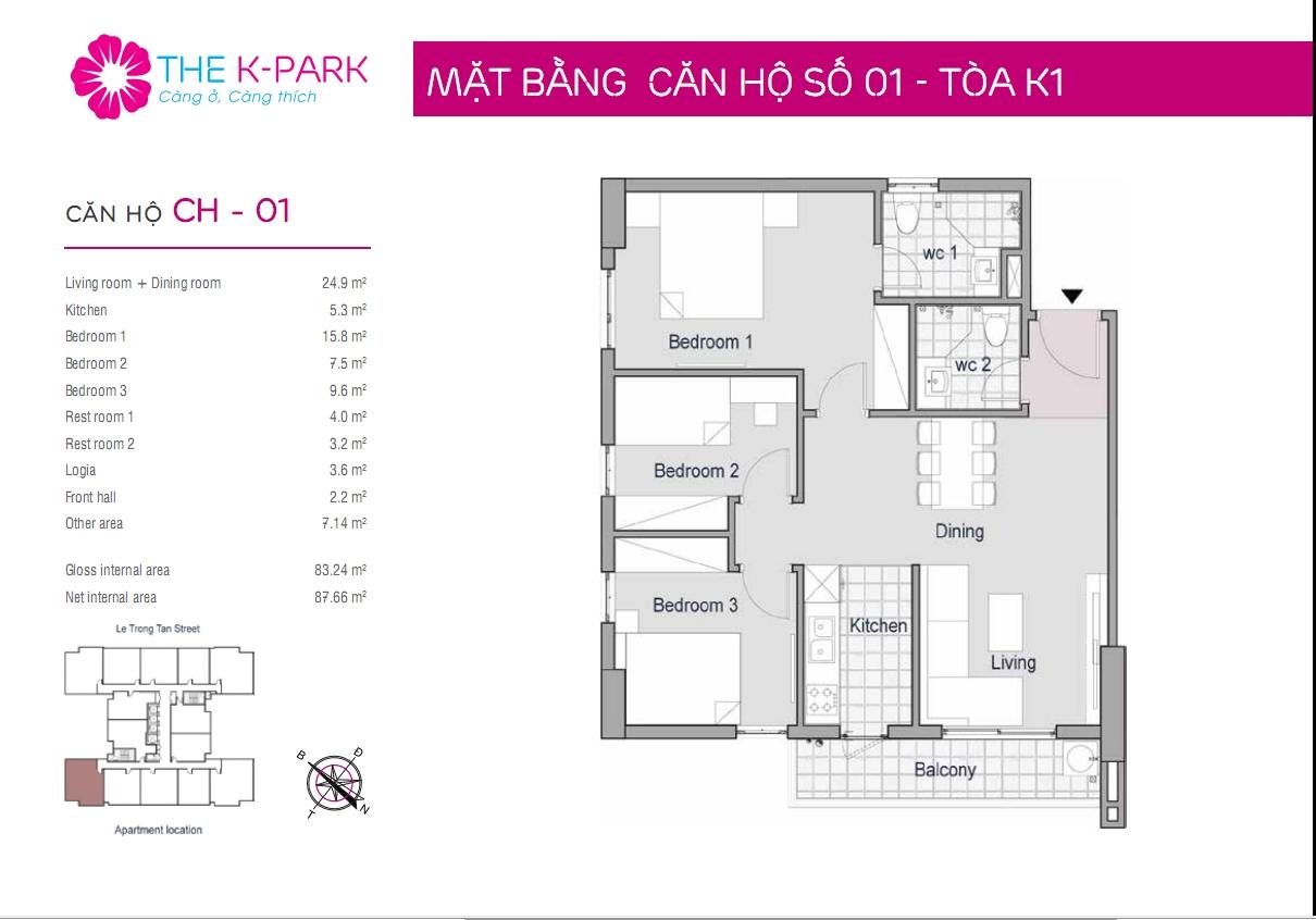 Thiết kế căn hộ 83m2-the-k-park