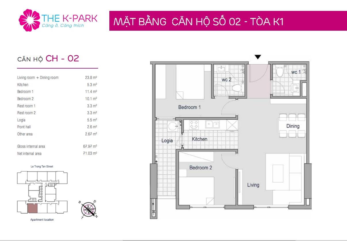 Thiết kế căn hộ the k park 68m2