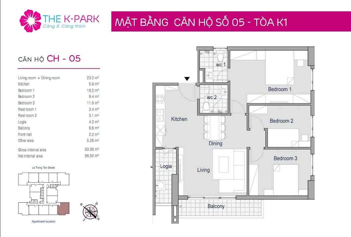 Thiết kế căn hộ The K Park 93m2