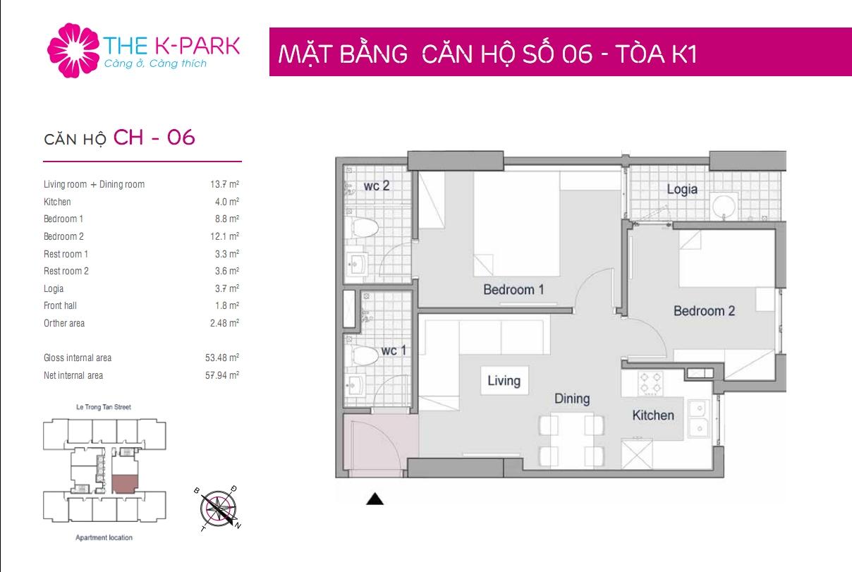 Thiết kế căn hộ The K park 54m2