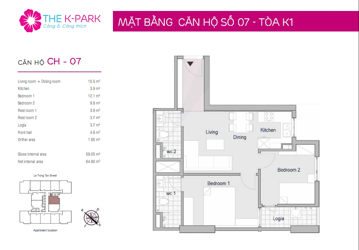Thiết kế căn hộ K3 The K Park 59m2