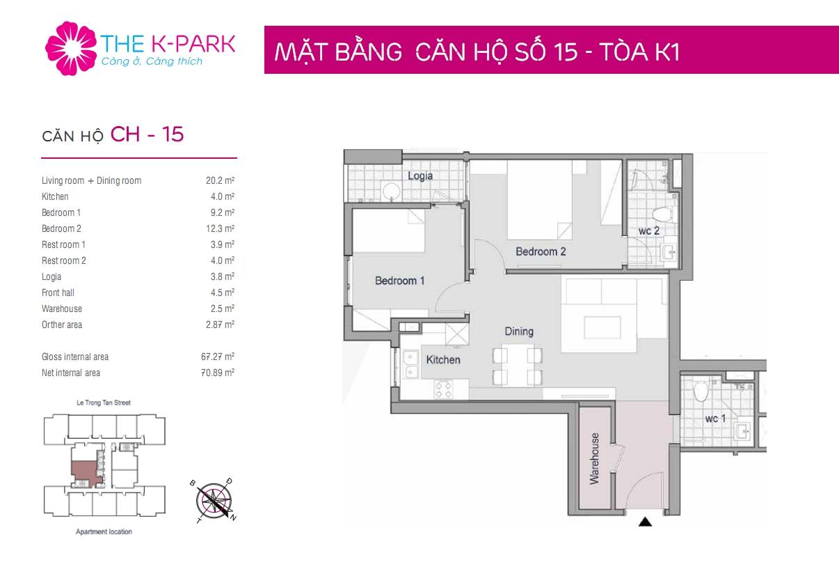 Thiết kế căn hộ K3 The K Park 68m2